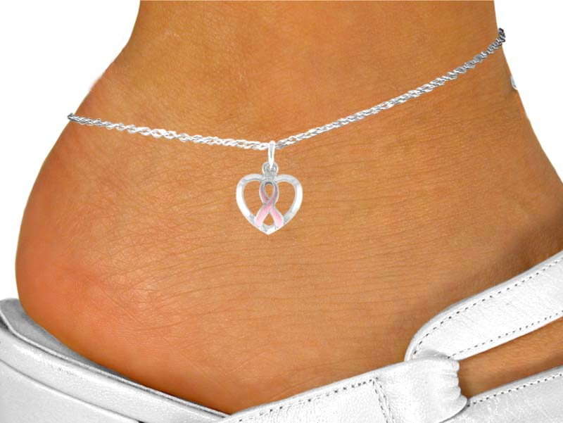 Breast Cancer Awareness Pink Ribbon Anklet In Heart Charm