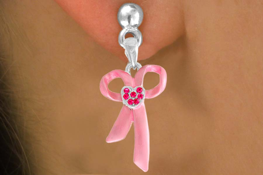 Breast Cancer Awareness Pink Ribbon Earrings w/Austrian Crystals