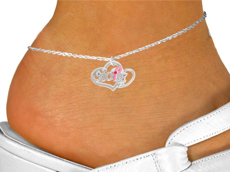 """Hope"" Breast Cancer Awareness Anklet"
